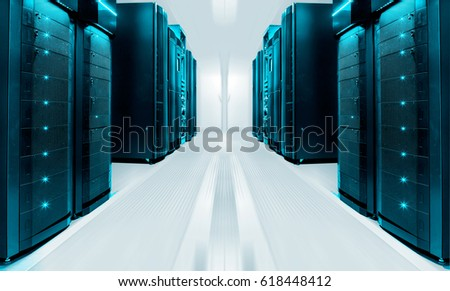 symmetrical futuristic modern server room in modern data center with bright light