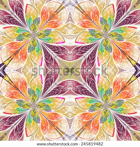 Symmetrical pattern in stained-glass window style. Green, yellow and brown palette. Computer generated graphics. - stock photo