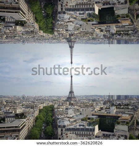 Symmetry. Paris skylines. View from above.  - stock photo