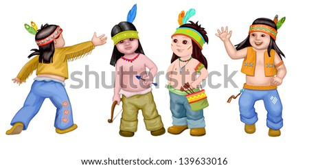 Sympathetic Indian kids on the white background - stock photo
