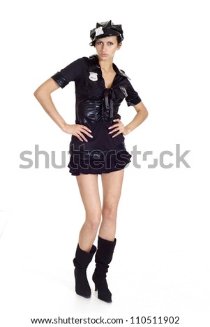 Sympothetic brunette in a suit of police on a white background - stock photo