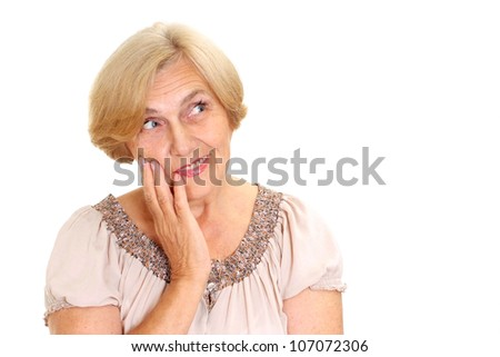 Sympothetic  old woman on a white background - stock photo