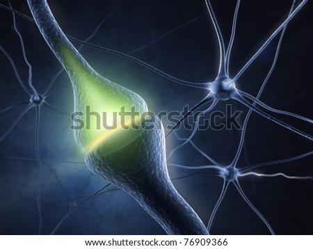 Synapse in human neural system - stock photo