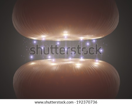Synapse in the nervous system passing an electrical and chemical signal to another cell. - stock photo