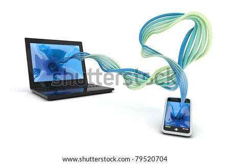 Synchronize information - stock photo