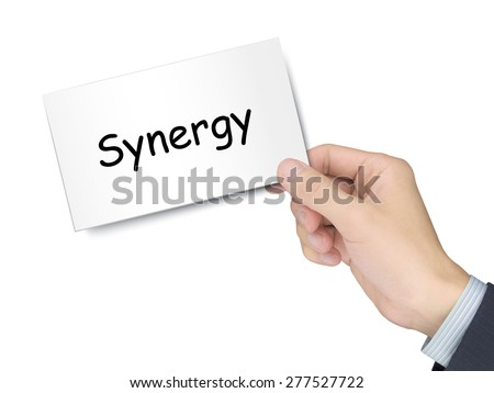 synergy card in hand isolated over white background