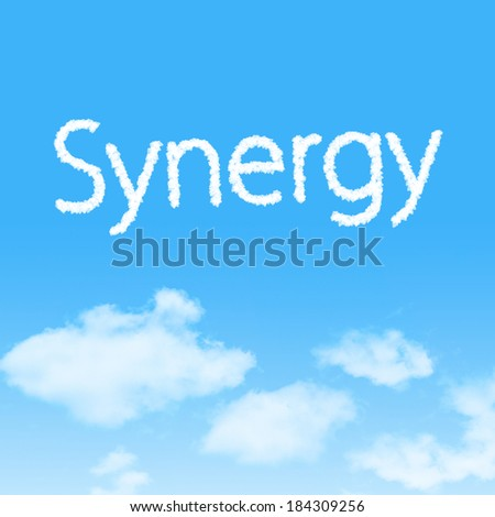Synergy cloud icon with design on blue sky background - stock photo