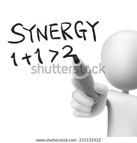 synergy word written by 3d man over white  - stock photo