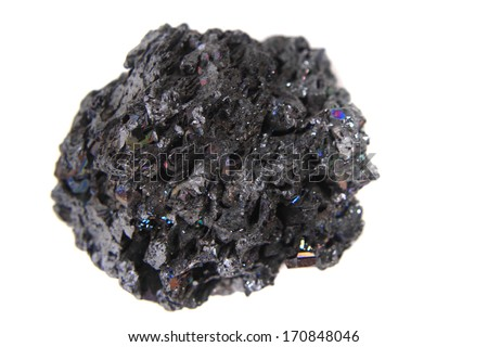 synthetic corundum mineral isolated on the white background (looks like meteor) - stock photo