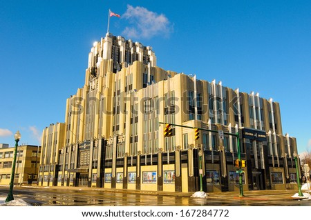SYRACUSE, NY - NOVEMBER 29: The Niagara-Mohawk Building in Syracuse, NY, built in 1932, is an outstanding example of art deco architecture, shown glistening in morning sunlight on November 29, 2013. - stock photo