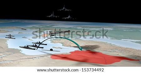 Syria conflict military strike map middle east - stock photo