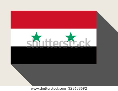 Syria flag in flat web design style. - stock photo