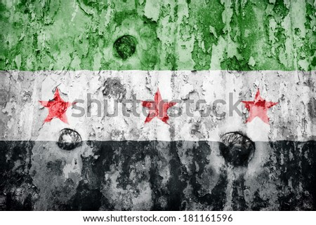 Syria flag on a weathered grunge background - stock photo
