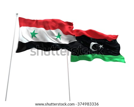 Syria & Libya Flags are waving on the isolated white background - stock photo