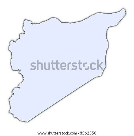 Syria light blue map with shadow. High resolution. Mercator projection. - stock photo