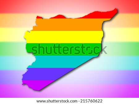 Syria - Map, filled with a rainbow flag pattern - stock photo