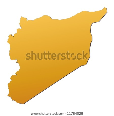 Syria map filled with orange gradient. Mercator projection. - stock photo