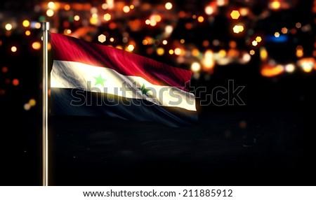 Syria National Flag City Light Night Bokeh Background 3D - stock photo