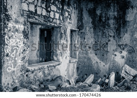 Syrian customs building destroyed during the 1967 war - stock photo