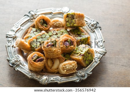 Syrian pastry with pistachios and nuts - stock photo