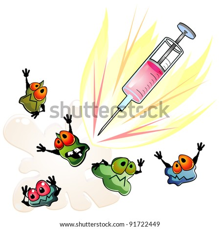 Syringe and frightened germs as concept of antibiotic - stock photo