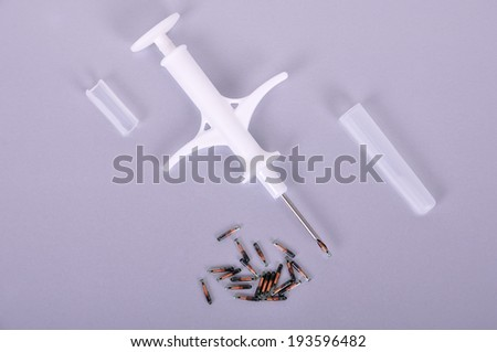 Syringe for introduction of chip and animal id - stock photo