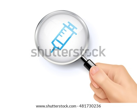 Syringe icon sign showing through by magnifying glass held by hand. 3D illustration.