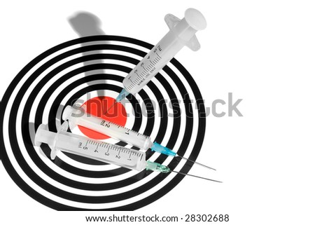 Syringe in a Dartboard. Medical Related Concept