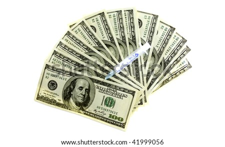 Syringe on twenty dollar bills ? cost of healthcare - stock photo