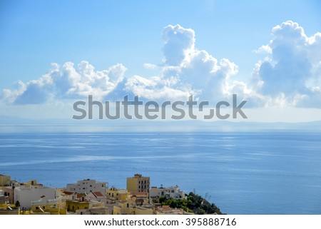 Syros island. Panoramic view of one of the most beautiful islands in Greece during summer.
