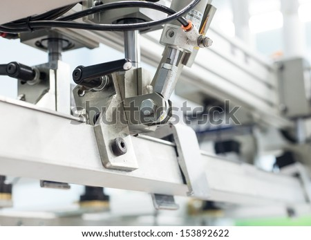 system of pneumatic, automatic, machine part - stock photo
