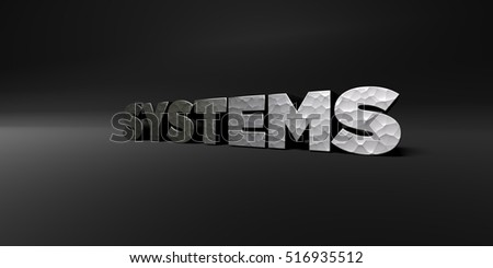 SYSTEMS - hammered metal finish text on black studio - 3D rendered royalty free stock photo. This image can be used for an online website banner ad or a print postcard.