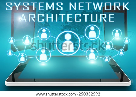 Systems Network Architecture - text illustration with social icons and tablet computer and mobile cellphones on cyan digital world map background - stock photo