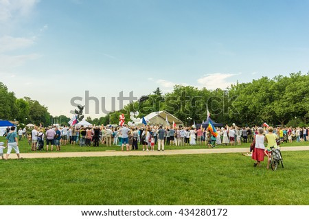 SZCZECIN, POLAND - JUNE 03, 2016: Group of people supporting the KOD group demonstrating against the PIS party