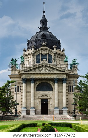 Szecheneyi Baths is thermals spring in Budapest, built in eclectic style. Hungary - stock photo