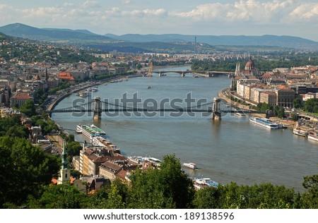 Szechenyi Chain Bridge, Budapest, Hungary - stock photo