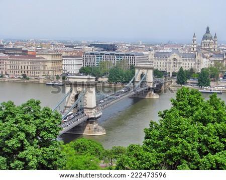 Szechenyi Chain Bridge on Danube River, Budapest, Hungary - stock photo