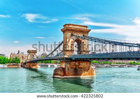 Szechenyi Chain Bridge view from Danube side. Budapest, Hungary. - stock photo