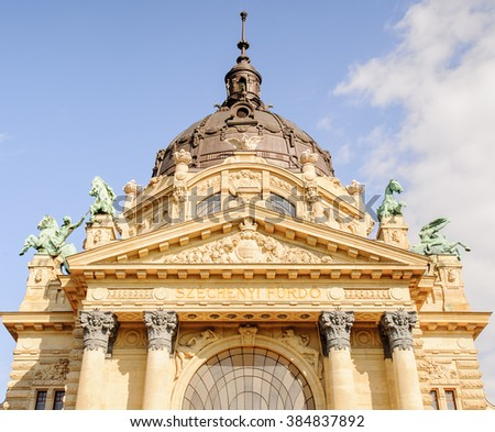 Szechenyi Medicinal Bath in Budapest,Hungary, is the largest medicinal bath in Europe.The bath can be found in the City Park, and was built in 1913 in Neo-baroque style to the design of Gyozo Czigler. - stock photo