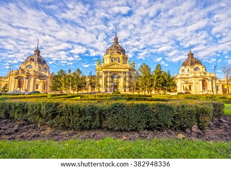 Szechenyi Medicinal Thermal Baths and Spa, Budapest, Hungary. - stock photo