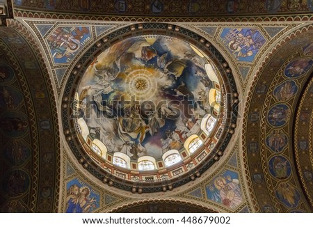 SZEGED, HUNGARY - JULY 6, 2016: Interior of the Votive Church and Cathedral of Our Lady of Hungary, a twin-spired church in Szeged.