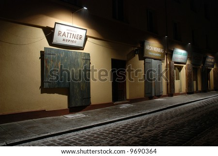 Szeroka Street by night, pre-war street on Kazimierz, the old Jewish quarter of Krakow (Poland)
