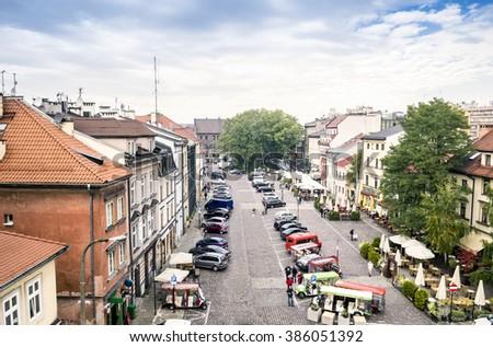 Szeroka Street, main place in Jewish district called Kazimierz in Krakow, Poland - stock photo