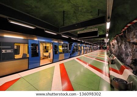 Sztockholm, subway stop King's Garden - stock photo