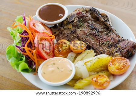 t bone steak - stock photo