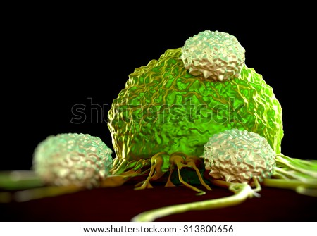 T-cells attacking cancer cell  illustration of  microscopic photos - stock photo