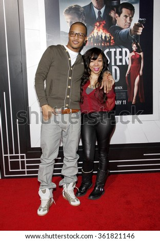 "T.I. and Tiny at the Los Angeles premiere of ""Gangster Squad"" held at the Grauman's Chinese Theatre in Los Angeles, USA on January 7, 2013. - stock photo"
