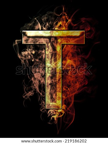 t, illustration of  letter with chrome effects and red fire on black background - stock photo