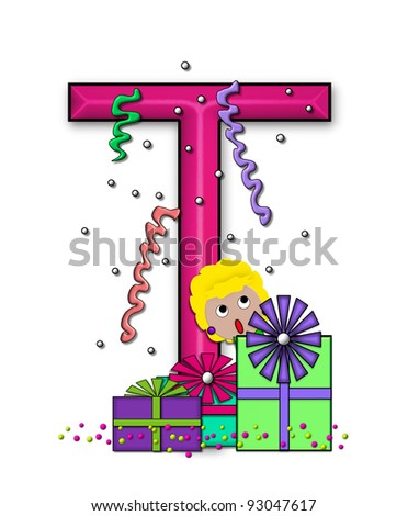 """T, in the alphabet set """"Birthday Letters"""", is surrounded by colorfully wrapped presents complete with bows.  Woman hides behind presents and peeks out pretending surprise. - stock photo"""