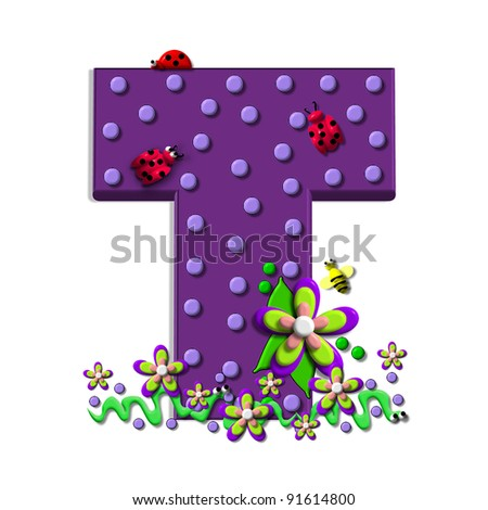 """T, in the alphabet set """"Buzzing Garden"""", is decorated with three dimensional polka dots and a three layer flower.  Purple letters are decorated with lady bugs, snakes and bees. - stock photo"""